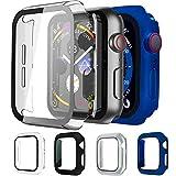 Mocodi Lot de 4 coques pour Apple Watch 38 mm avec protection d'écran en verre trempé pour Apple...