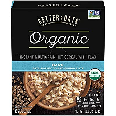 Better Oats Organic Instant Hot Cereal with Flax, Bare, 11.8 Ounce (Pack of 6)