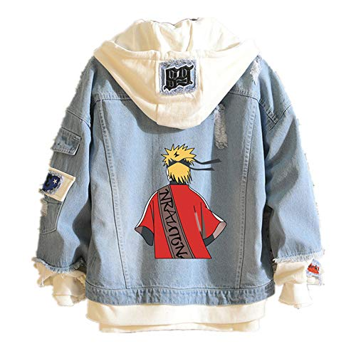 Duess Naruto Hoodie Denim Jacket Anime Sweatshirt Cosplay Jeans Clothes, F, Large