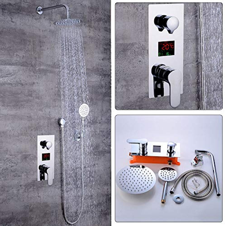 Unterputz Duschsystem mit LCD Temperatur-Anzeige Duschset Duscharmatur Regendusche mit Rainshower Handbrause Duschkopf Dusche Armatur und Badewanne für Bad