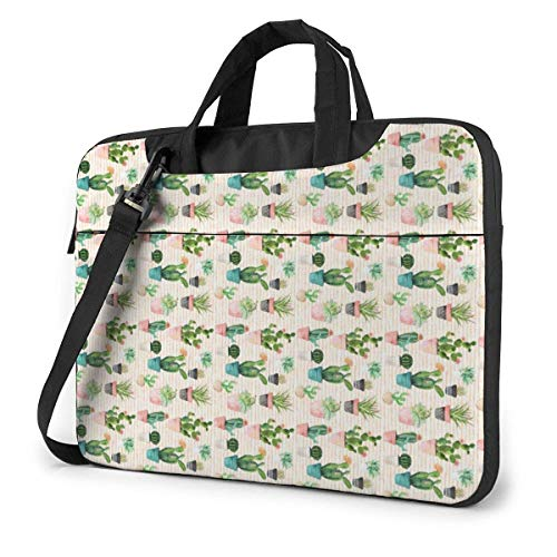 Cactus Potted Plant Pattern Laptop Sleeve Case 14 Inch Computer Tote Bag Shoulder Messenger Briefcase for Business Travel