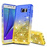 Atump Galaxy Note 5 Case Galaxy Note 5 Cases with HD Screen Protector, Fun Glitter Liquid Sparkle Diamond Cute TPU Silicone Protective Phone Cover Case for Samsung Galaxy Note 5 Blue/Yellow