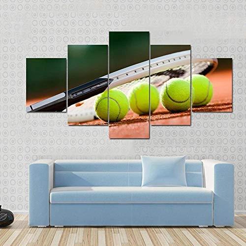 BDFDF Lienzo 5 Piezas Cuadro Lienzo No Tejido Raqueta De Tenis Y Pelotas En La Cancha De Tenis 5 Carteles Pintura Mural Modernos Hogar Decoracion Artes 150X80Cm