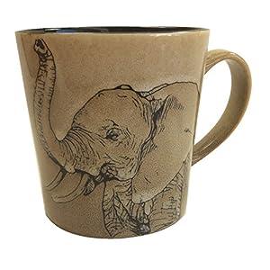 Unison Gift Large Ceramic 16 Oz. Mug with Stencil Style Safari Elephant Design