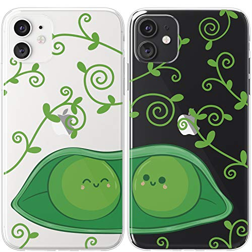 Mertak TPU Couple Cases Compatible with iPhone 12 Pro Max Mini 11 SE Xs Xr 8 Plus 7 6s Green Lovely Cartoon Best Friend Soulmate Matching Lightweight Pod Cute Clear Flexible Peas Silicone Kawaii