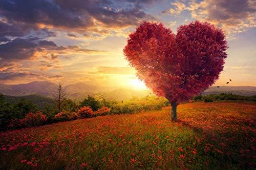 Yingxin34 Rompecabezas de Patrones de árboles de Amor para Adultos Rompecabezas 1500 Piezas para Adultos Niños Juego Intelectual Aprendizaje Educación Descompresión Juguetes 87x57cm