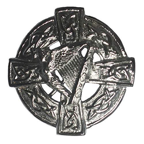 Tartanista - Herren Brosche für Fly Plaids - schottisch, irisch oder keltisch - Keltische Harfe - verchromt