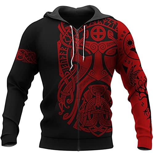 Vikingo Sudadera con Capucha Odin de Céltico Camiseta con Tatuaje Jersey Pullover Vegvisir Camisa de Entrenamiento Manta Cálida Runa Impresión 3D, Además de Terciopelo,Double Layer Zip,L
