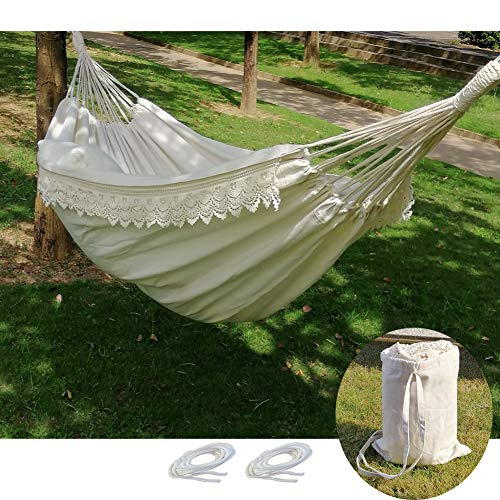 Brazilian Double Hammock Boho Large Fringe Swing Bed  Portable 2 Person Hammock for Patio Porch Backyard Outdoor and Indoor with Carrying Bag Tree Hammock  Soft Cotton FabricWhite