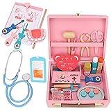Juguete de médico, médico de madera equipo médico maleta caja de medicina doctor Juego de roles juguete de regalos de cumpleaños para niños(Kit medico)