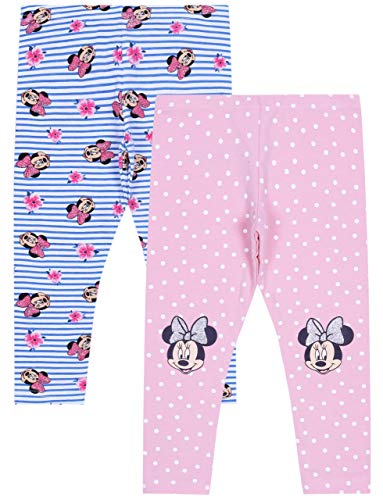 2 x bonte gestreepte leggings, punten Minnie Mouse Disney