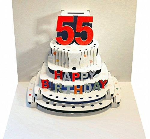 FOREVER Pop Up 3D Karte Geburtstagskarte 55 Geburtstag Gutschein Torte 16x11cm