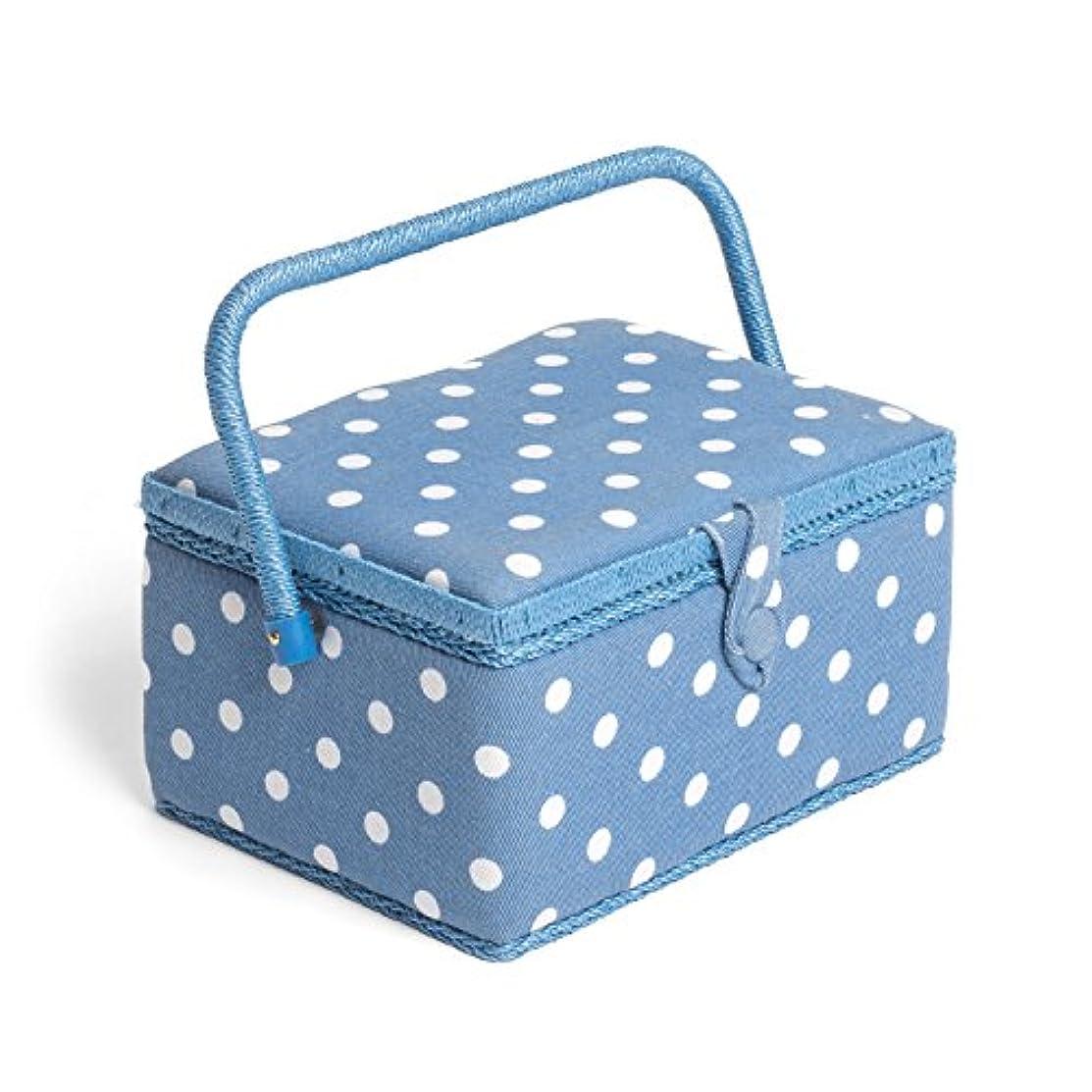Hobby Gift MRM/188 | Denim Spot Print Medium Sewing Basket | 18.5x26x15cm