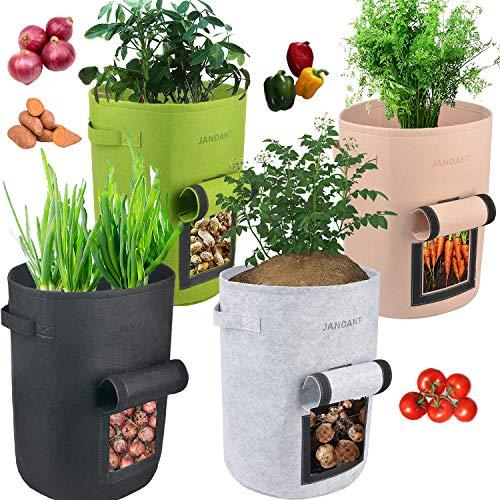 4 paquetes de bolsas de cultivo para plantas de 10 galones de jardín, cajas para verduras no tejidas de tela transpirable, macetas con solapa y asas, fácil de cosechar