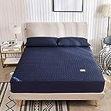GTWOZNB - Sábana bajera ajustable transpirable suave y cómoda de algodón lavado resistente a la abrasión, cubierta completa, azul marino _150 x 200 cm