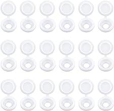 INCREWAY Schroefdeksels, 100 stks Witte Plastic Schroefdop Scharnierende Vouw Over Caps Rubber Stofwasser Flip Tops met Op...