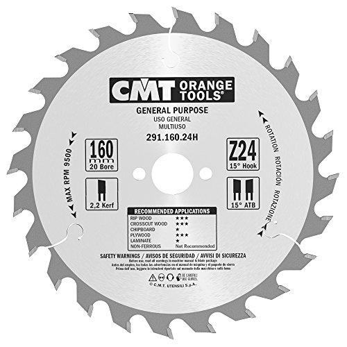 CMT Orange Tools cirkelzaagblad HW 160 x 2,5/1,6 x 20 Z = 24 15° ATB - 291.160.24H - voor lengte- en dwarsdoorsneden