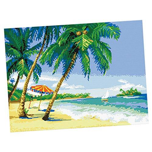 Amuzocity Seaside Scenery - Kit de costura de hilo de aguja (64 x 50 cm)