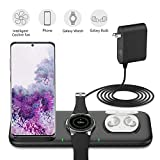 Yootech 3 in 1 Fast Wireless Charger, 22.5W Max Wireless Charger with Adapter Compatible with Galaxy Watch 42mm/46mm/Active2/1, Gear S3/S2/Sport & Galaxy Buds, Galaxy S20 / S10 / S9 / S8 / Note10 / 9