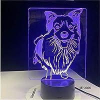 ベッドサイド7色変更羊飼いモデリングデスクランプLED3D犬の常夜灯の装飾USBベビー睡眠照明ギフトGX