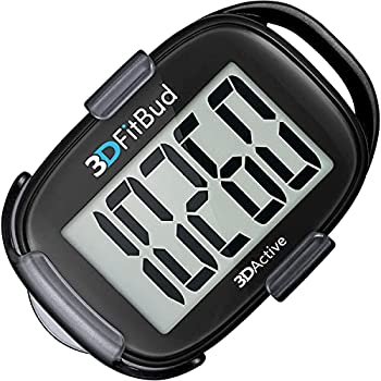 3DFitBud Simple Step Counter Walking 3D Pedometer with Clip and Lanyard A420S  Black