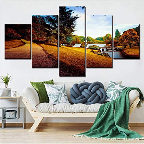 5 Canvas wall art foto's voor huisdecoratie Decoratieve Landschappen Bomen Brug Natuur Met papieren Woonkamer kunstenaar huisdecoratie schilderij 30x40 30x60 30x80cm Geen Frame