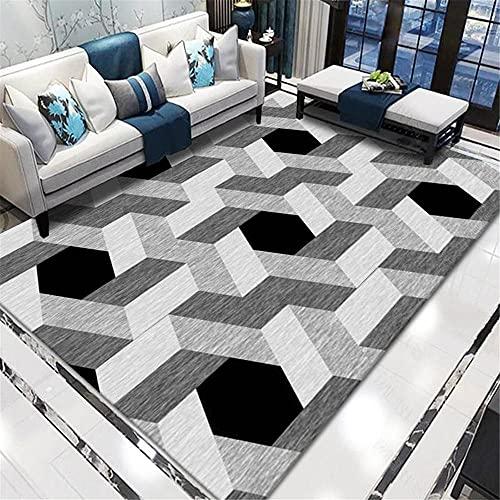 Teppich Teppich Kinder Grauer schwarzer Abstrakter geometrischer Teppich atmungsaktives Komfortables Schmutz-Anti-Rutsch-Wohnzimmer Teppich Flur rutschfest Kitchen Carpet 140*200cm