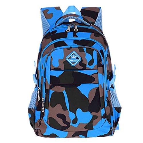 Bom Bom Jungen Camouflage Schultasche Outdoor Freizeit Daypack (Tarnung-blau)
