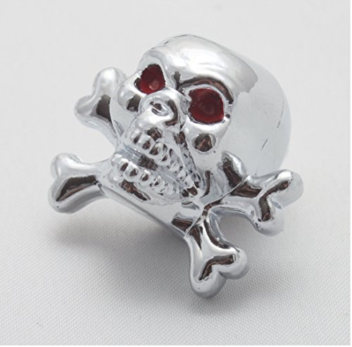 4X Ventilkappen Totenkopf Skull Bones Farbe: Silber Chrom Ventilkappe vt2