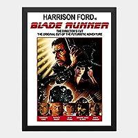 ハンギングペインティング - ブレードランナー BLADE RUNNERのポスター 黒フォトフレーム、ファッション絵画、壁飾り、家族壁画装飾 サイズ:33x24cm(額縁を送る)