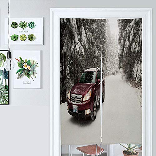SUPNON Hanging Japanese Noren Curtain Subaru Outback in The Snow Custom Made Curtain Doorway Panel Room Dividers for Partition Home Restaurant IS111624 W39.3 x L59