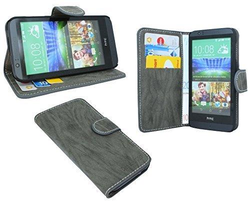 ENERGMiX Buchtasche kompatibel mit HTC Desire 510 Hülle Case Tasche Wallet BookStyle mit Standfunktion Anthrazit