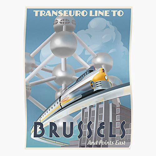 Rocket Brussels Retro Vintage Futuristic Train Europe Home Decor Wall Art Print Poster !