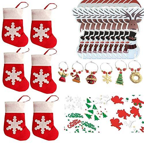 COSORO Weihnachten Tischdeko Kits-30 Fun Weihnachten Glas Dekorationen,6 Xmas Socken Bestecktasche Besteckhalter Taschen,6 Weinglas Charms Marker,1 Pack Xmas Confetti