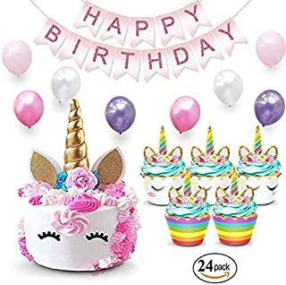 Unicorn Cake Topper & Rainbow Cupcake Wrappers Kit (Set Includes Horn, Ears, Eyelashes) + Happy Birthday Banner Decor | Unicorn Theme Decorations & Supplies Pack - Favors For Kids Party
