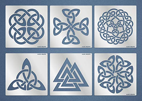 Aleks Melnyk #115 Metal Stencils/Celtic Knot/Wicca, Irish Stencils, 6 PCS/Templates for Painting, Wood Burning, Pyrography, Wood Carving, for Embroidery, Quilting/Scandinavian, Viking Symbols