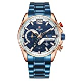 Wyenliz Reloj de hombre original Multifuncional Lujo de moda de personalidad negocio de ocio a Estudiante Correa de acero inoxidable prueba de agua reloj de regalo de cuarzo analógico Azul