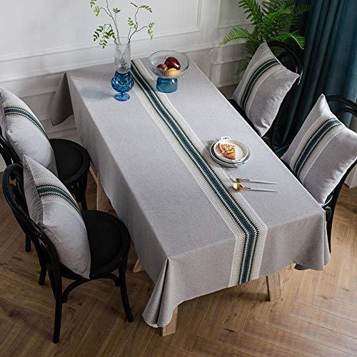 GTWOZNB Mantel, con relieves, Lavable, tamaño a Elegir, Rectángulo Acanalado Impermeable de Lino de algodón-Azul_120 x 160