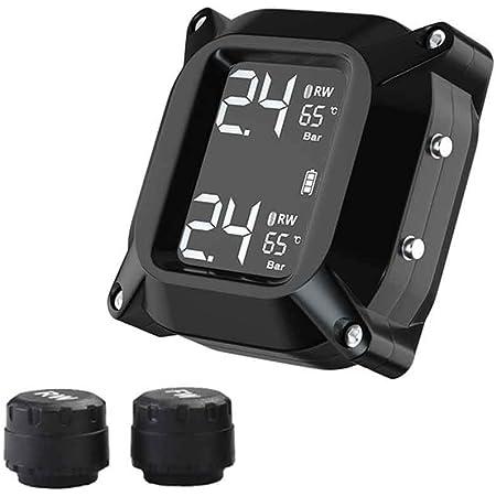 Hinmay Tpms Reifendrucküberwachungssystem 24 Stunden Echtzeit Reifendrucküberwachung Für Motorräder Mit Sensoren Farbanzeige Für Zweiräder Küche Haushalt