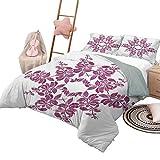 Conjunto de ropa de cama púrpura Autumn Vine Ramo de flores nupcial Estilo vintage Círculo de hojas Corona de laurel Conjunto de funda nórdica para niñas Blanco violeta con 2 fundas de almohada, Calif