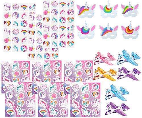 KINPARTY ® - 72x Tatuajes Temporales, 72x Pegatinas, 6 Máscaras Goma Eva y 6 Aviones - Diseños Surtidos para Niñas/Niños. Ideal para regalos de cumpleaños, fiestas, relleno piñatas, regalos sorpresa