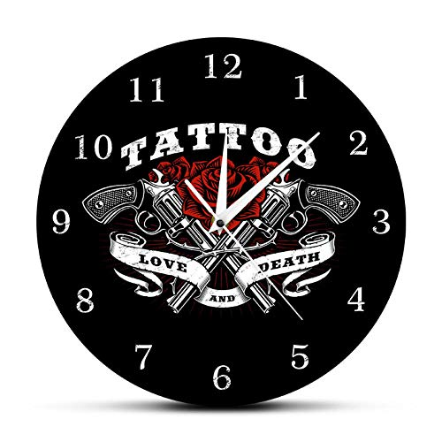 Djkaa Tattoo platform wandklok Love and Death Rose en Tattoo Guns wandklok tattoo Studio Gothic Decor Art The Tattooist Gift