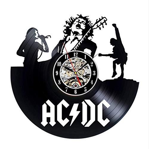 Djkaa wandklok, vinyl, rechthoekig, zwart, vinyl, CD-klok, woonkamerdecoratie, 12 inch