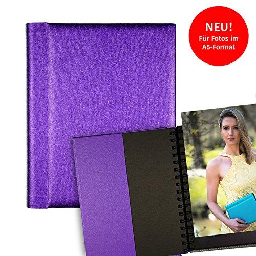 Modelmappe Fotomappe Modelbuch Modelbook A5 Violett für 30 Fotos im A5-Format, Portfoliomappe Portfolio Mappe Fotografie, austauschbare Hüllen, Modelmappe Sedcard