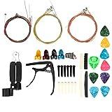 Kit de accesorios de guitarra de cejilla superior inferior con cuerdas, reemplazo de cambio de guitarra, herramienta de rasgueo, kit de accesorios de guitarra para el hogar