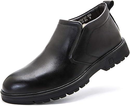 Mzq-yq Calzado de Lana para Hombre Conjunto Inferior Grueso Pie Piel de Mediana Edad Stiefel para Hombre Piel de Oveja cálida para Hombre Stiefel de Cuero schwarz
