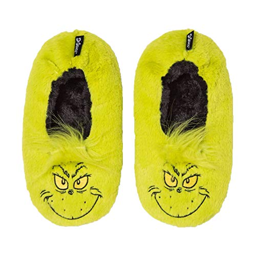 Womens Grinch Slippers Dr Suess Holiday Green Fuzzy Babba Slipper Plush Fuzzy (S/M)