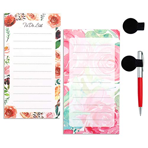 to Do List Notepad Grocery List Magnet Pad for Fridge Magnetic Notepads for Refrigerator,2-Pack Magnetic Notepad Floral Designs with Pen Holder,50 Sheets Per Pad, 14 X 7.5 cm