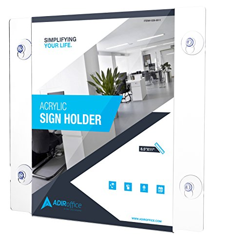 AdirOffice Acrylic Window Sign Holder with Suction Cups 2 Pack (8.5-x-11-inch)
