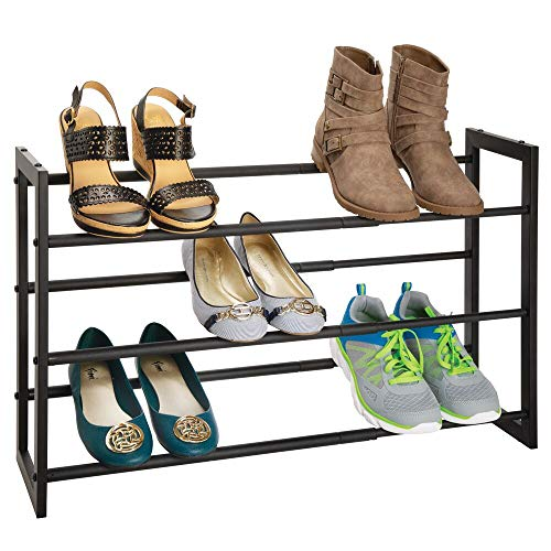 mDesign 3-Tier Shoe Organiser – Expandable Shoe Rack with 3 Shelves – Shoe Shelf for Entryways, Wardrobes and Bedrooms – Black